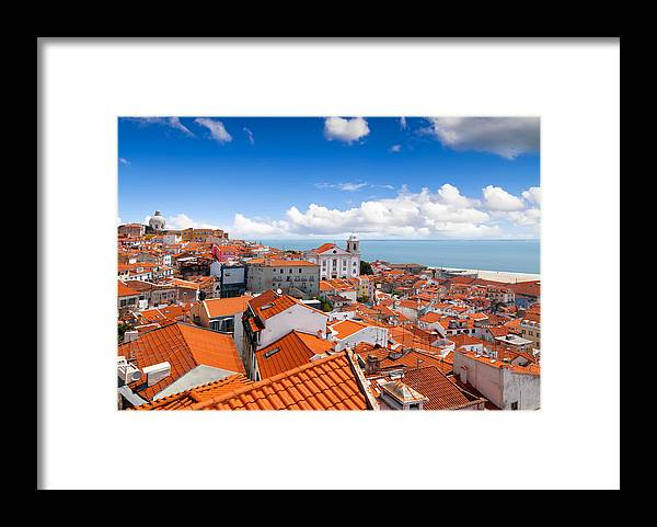 Built Structure Framed Print featuring the photograph View of Alfama From Miradouro de Santa Luzia, Lisbon, Portugal by Artherng