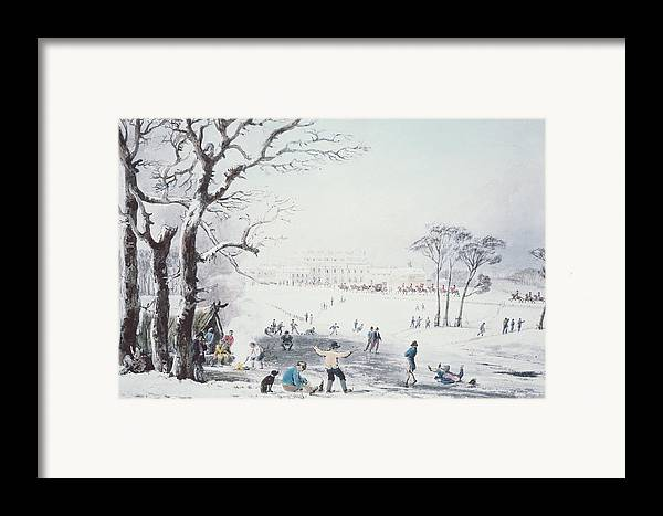 Print Framed Print featuring the drawing View Of Buckingham House And St James Park In The Winter by John Burnet
