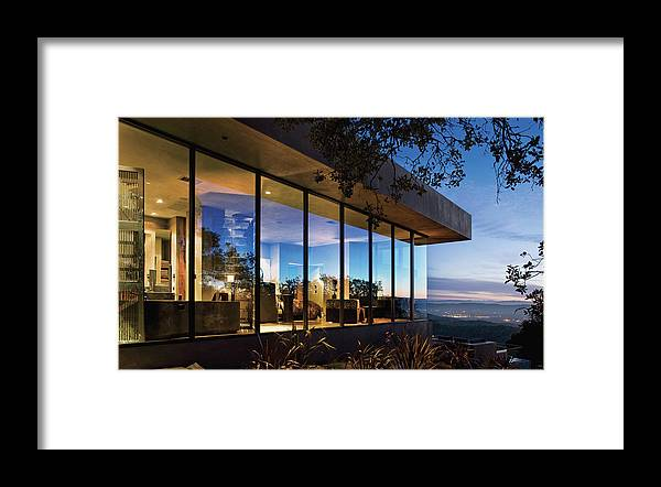 No People Framed Print featuring the photograph View Of Luxurious Resort At Dusk by Scott Frances