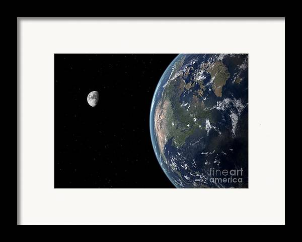 Earth Framed Print featuring the digital art View Of North America With Rise In Sea by Walter Myers