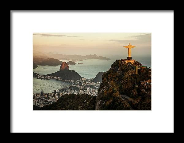 Outdoors Framed Print featuring the photograph View Of Rio De Janeiro At Sunset by Christian Adams