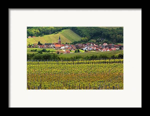 Vineyards Framed Print featuring the photograph View Of Rodern From The Vineyards Of Alsace by Greg Matchick