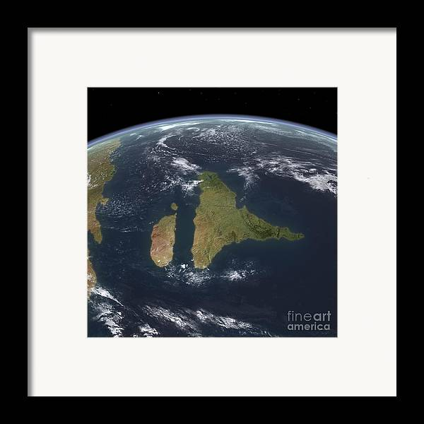 Earth Framed Print featuring the digital art View Of The Indian Subcontinent by Walter Myers