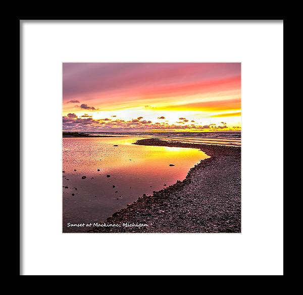 View Opposite Of Mackinac Bridge From Mcgulpin Point At Sunset. Framed Print featuring the photograph View Opposite Of Mackinac Bridge From Mcgulpin Point At Sunset. by LeeAnn McLaneGoetz McLaneGoetzStudioLLCcom