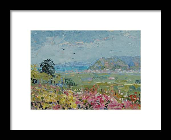 Landscape Framed Print featuring the painting View Towards Muizenberg by Elinor Fletcher