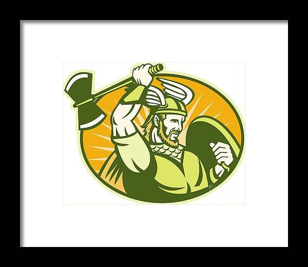 Viking Framed Print featuring the digital art Viking Raider Barbarian Warrior Retro by Aloysius Patrimonio