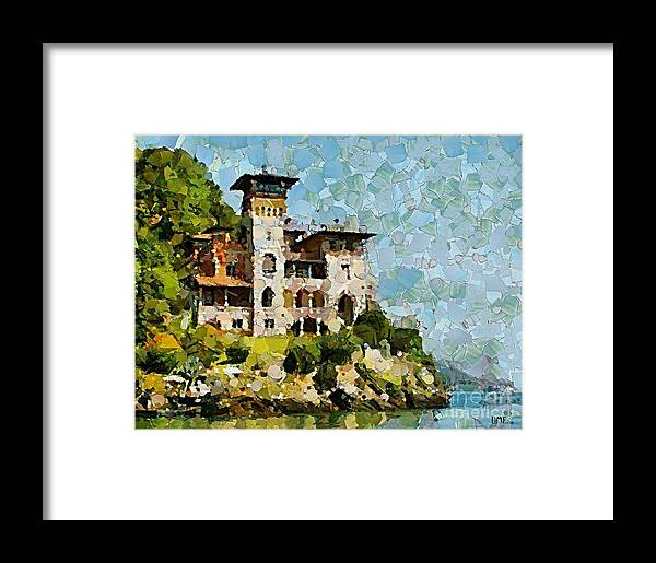 Landscapes Framed Print featuring the painting Villa La Gaeta by Dragica Micki Fortuna