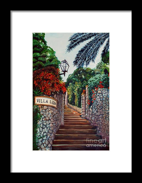 Italy Framed Print featuring the painting Villa Lidia by Nancy Bradley
