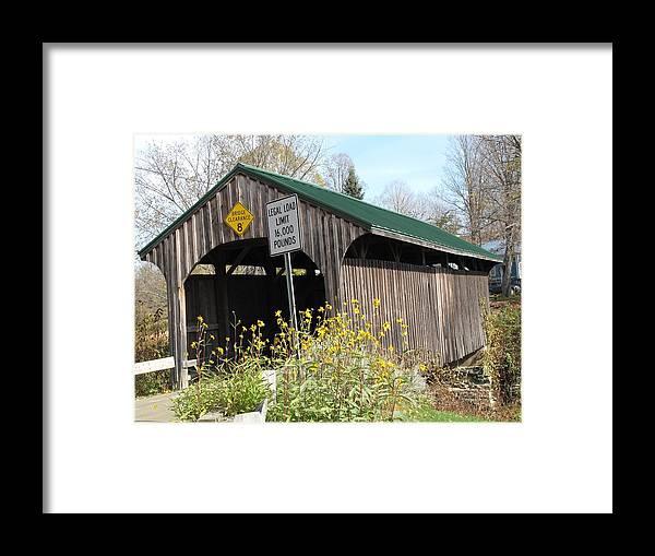 Covered Bridge Framed Print featuring the photograph Village Bridge Waterville Vermont by Barbara McDevitt