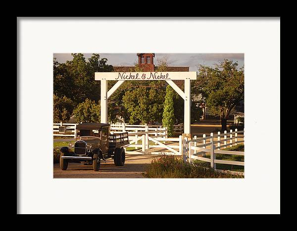 Vintage Truck Wood Railed Flatbed Fence Posts White Fence Wooden Farm Vineyard Nickel And Nickel Vineyards Napa California Ca Framed Print featuring the photograph Vineyard Trucking by Holly Blunkall