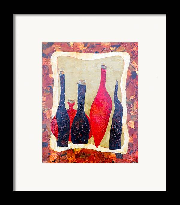 Bottles Framed Print featuring the painting Vino 1 by Phiddy Webb
