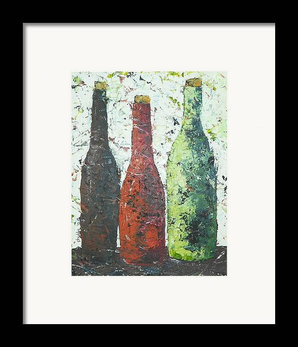Wine Bottles Framed Print featuring the painting Vino 2 by Phiddy Webb