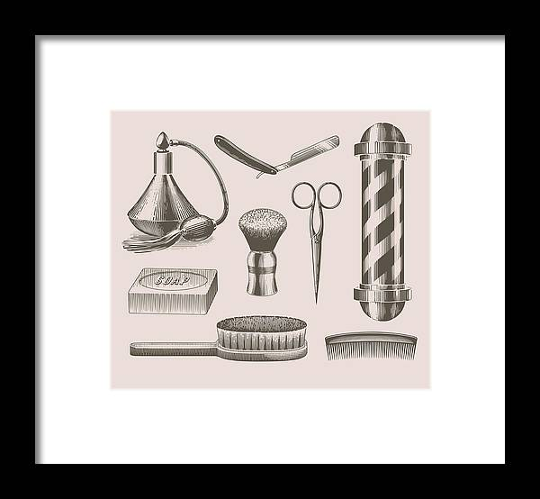 English Culture Framed Print featuring the digital art Vintage Barbershop Objects by Darumo
