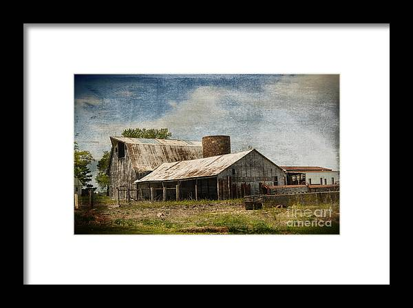 Vandalia Illinois Framed Print featuring the photograph Barn -vintage Barn With Brick Silo - Luther Fine Art by Luther Fine Art