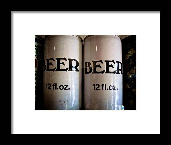 Beer Framed Print featuring the photograph Vintage Beer Cans by Katharine Mahoney