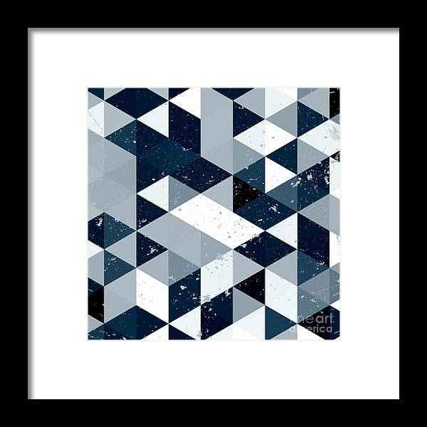 Bright Framed Print featuring the digital art Vintage Blue And White Triangle by Veronika M