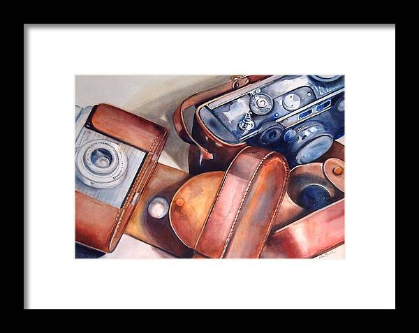 Camera Framed Print featuring the painting Vintage Cameras by Donna MacLure