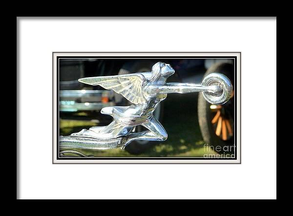 Vintage Packard Car Hood Ornament Framed Print featuring the photograph Goddess Of Speed Packard Hood Ornament by Susan Garren