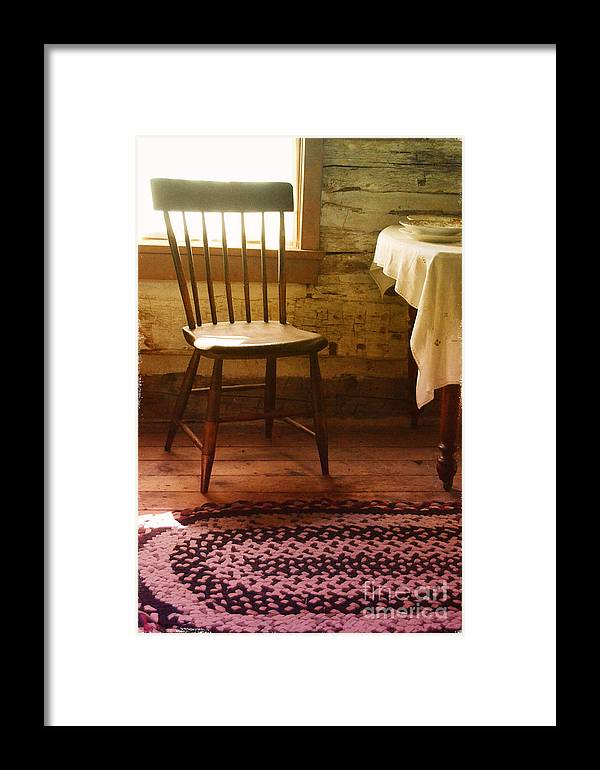 Chair Framed Print featuring the photograph Vintage Chair And Table by Jill Battaglia