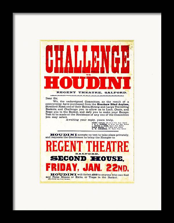 Houdini Framed Print featuring the photograph Vintage Challenge Houdini Poster by Wingsdomain Art and Photography