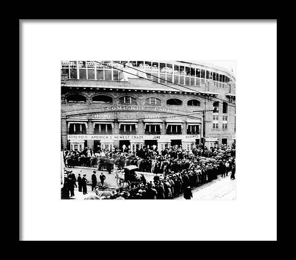Vintage Framed Print featuring the photograph Vintage Comiskey Park - Historical Chicago White Sox Black White Picture by Bob Horsch