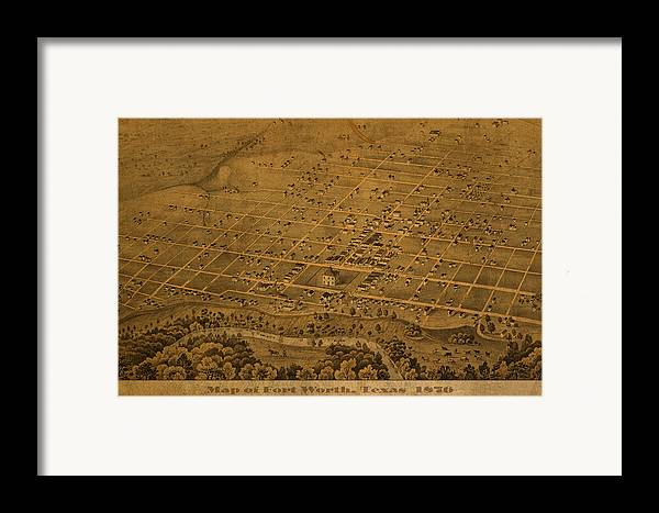 Vintage Framed Print featuring the mixed media Vintage Fort Worth Texas In 1876 City Map On Worn Canvas by Design Turnpike