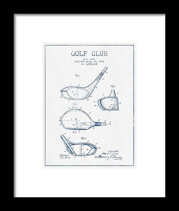 Golf Framed Print featuring the digital art Vintage Golf Club Patent Drawing From 1926 - Blue Ink by Aged Pixel