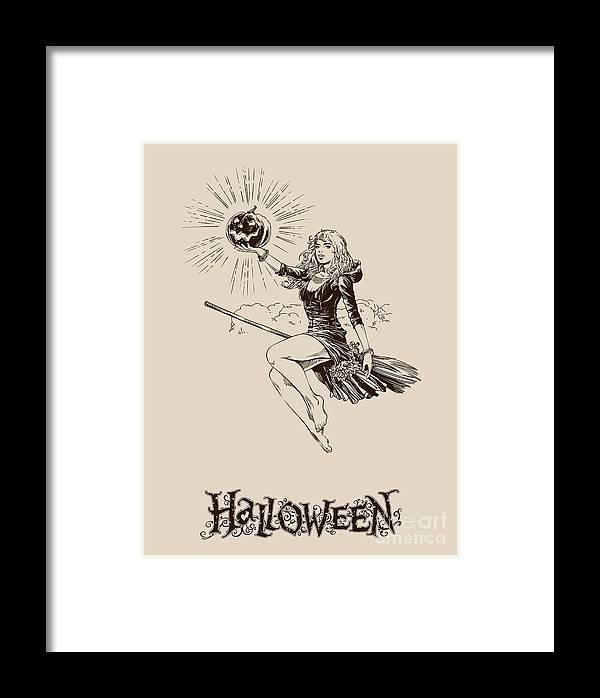 Scalable Framed Print featuring the digital art Vintage Halloween Illustration by Kovaleva ka