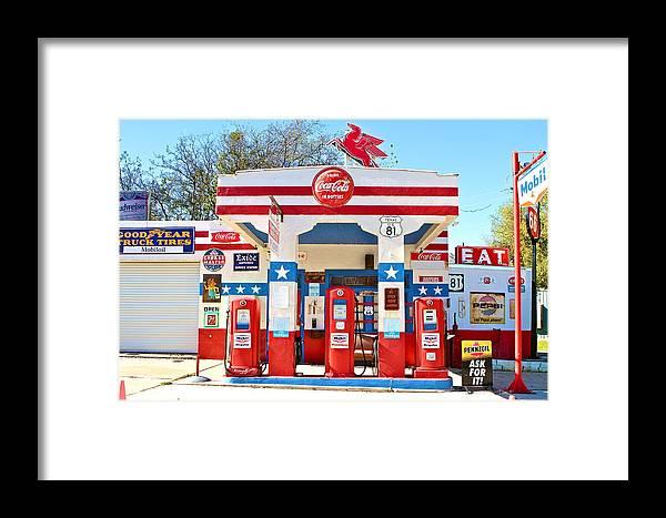 Vintage Mobil Gas Station Framed Print