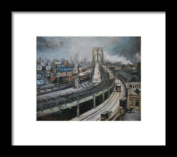 Vintage Framed Print featuring the painting Vintage New York City Brooklyn Bridge by C- Nwh
