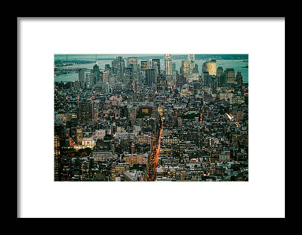 New York City Framed Print featuring the photograph Vintage New York Skyline by Silvio Ligutti