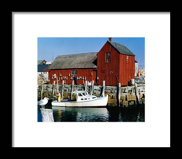 Fishing Framed Print featuring the photograph Fishing In Rockport Maine 1970's by Linda Rae Cuthbertson