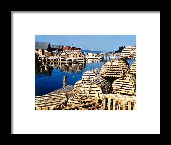 Lobster Traps Framed Print featuring the photograph Lobster Traps In Maine by Linda Rae Cuthbertson