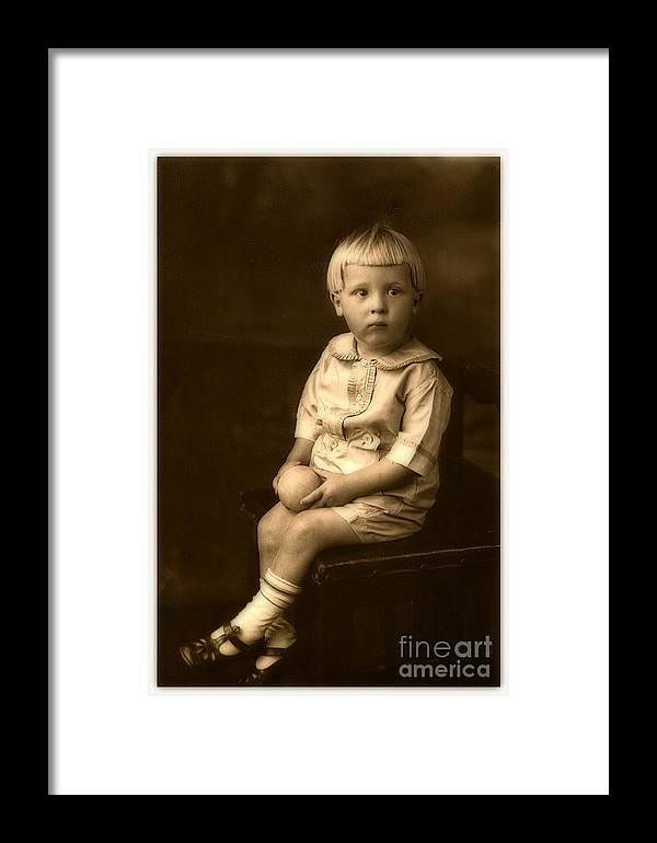 Vintage Portrait Framed Print featuring the photograph Vintage Portrait Of A Boy by Inspired Nature Photography Fine Art Photography