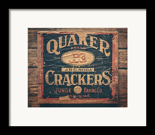 Quaker Crackers Framed Print featuring the photograph Vintage Quaker Crackers For The Kitchen by Lisa Russo