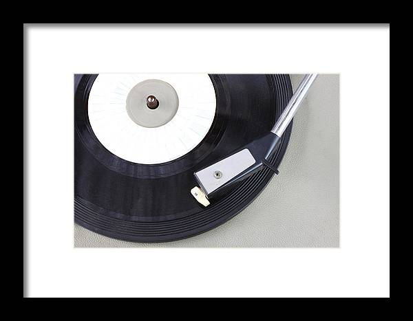 Record Framed Print featuring the photograph Vintage Record Player Close Up. Vintage Gramophone by Tomer Turjeman