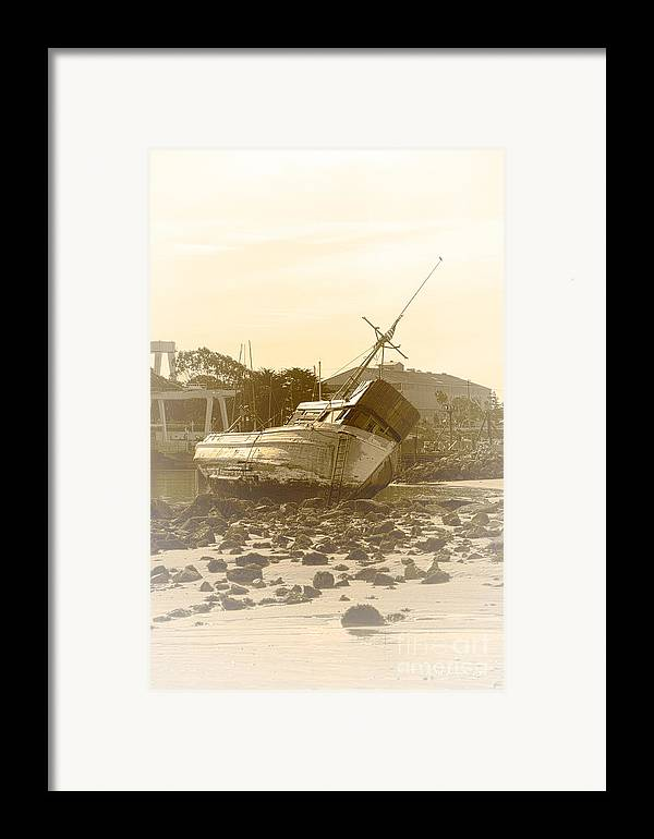 Shipwreck Framed Print featuring the photograph Vintage Shipwreck by Artist and Photographer Laura Wrede