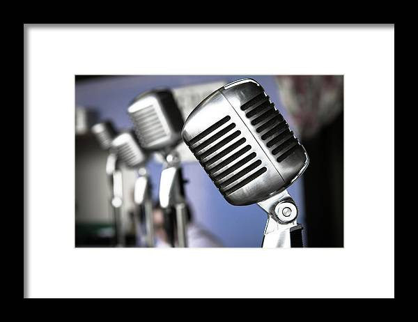 Music Framed Print featuring the photograph Vintage Standing Radio Microphones by Photo By Brian T. Evans