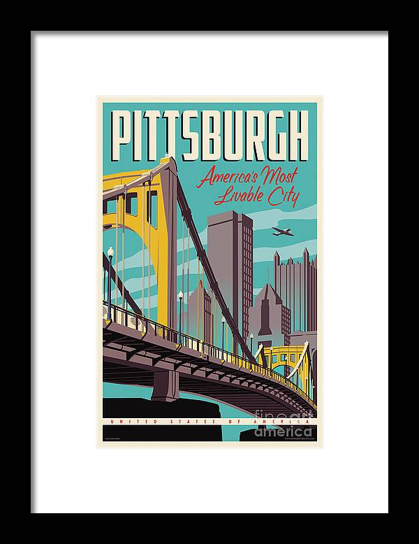 Pittsburgh Framed Print featuring the digital art Pittsburgh Poster - Vintage Travel Bridges by Jim Zahniser