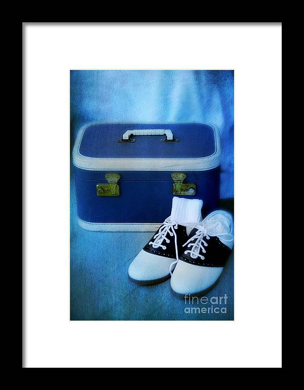 Suitcase Framed Print featuring the photograph Vintage Suitcase And Saddle Shoes by Birgit Tyrrell