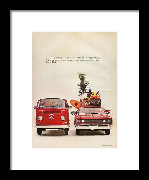 Vintage Volkswagen Camper Van Framed Print featuring the digital art Vintage Volkswagen Camper Van by Georgia Fowler