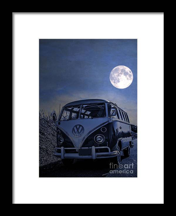 Full Framed Print featuring the photograph Vintage Vw Bus Parked At The Beach Under The Moonlight by Edward Fielding