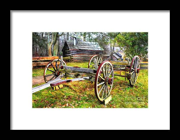 North Carolina Framed Print featuring the photograph Vintage Wagon On Blue Ridge Parkway I by Dan Carmichael