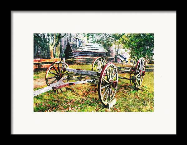 North Carolina Framed Print featuring the painting Vintage Wagon On Blue Ridge Parkway II by Dan Carmichael