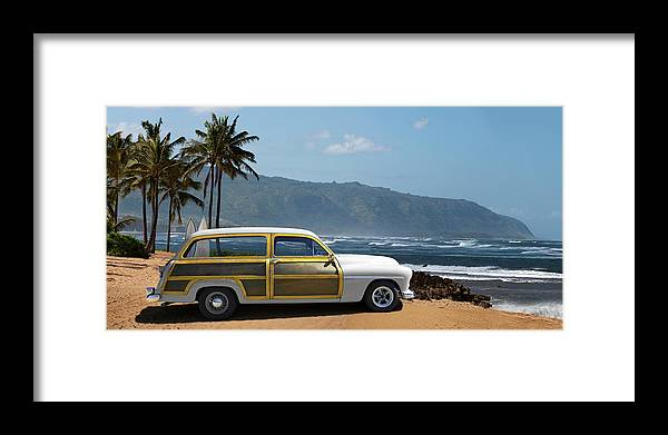 Haleiwa Framed Print featuring the photograph Vintage Woody On Hawaiian Beach by Ed Freeman