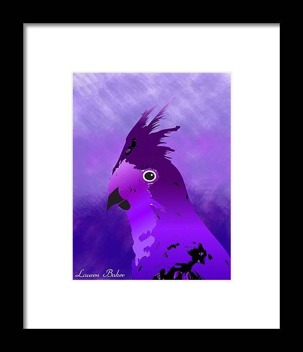 Purple Framed Print featuring the digital art Violet Cockatiel by Lauren Baker