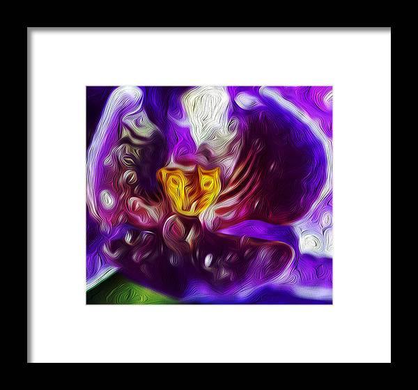 Oil Framed Print featuring the painting Violet Orchid by Joshua Ayers
