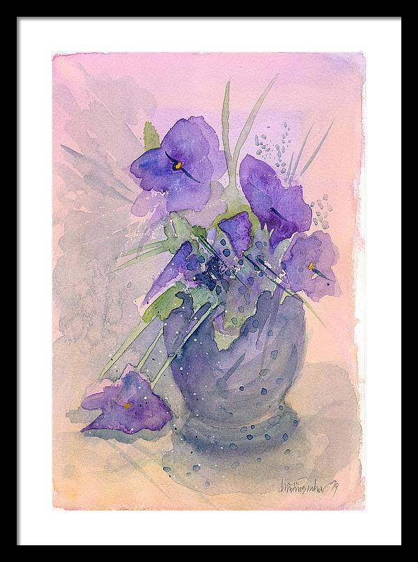 Purple Framed Print featuring the painting Violets by Ingela Christina Rahm