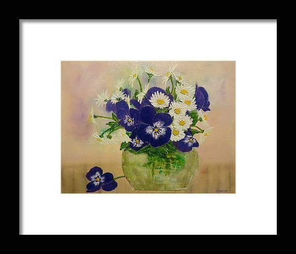 Flower Vase Framed Print featuring the painting Violets by Svetla Dimitrova