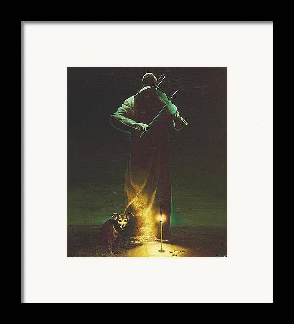 Figures Framed Print featuring the painting Violinist by Andrej Vystropov